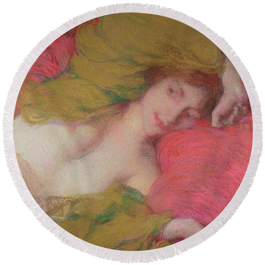 Female; Nude; Reclining; Doing Nothing; Idle; Lazy; Smiling; Relaxed; Drawing Round Beach Towel featuring the painting Farniente by Edmond-Francois Aman-Jean
