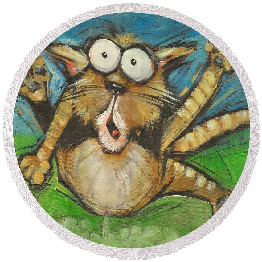 Cat Round Beach Towel featuring the painting Farting Feline by Tim Nyberg