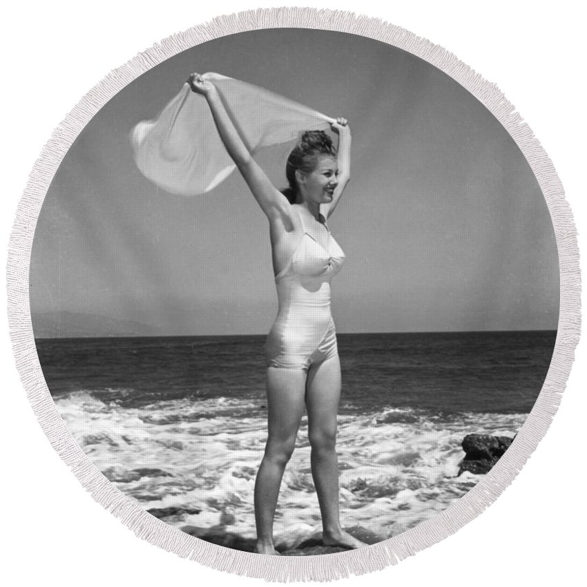 1940 Round Beach Towel featuring the photograph Fashion: Womens Swimsuit by Granger