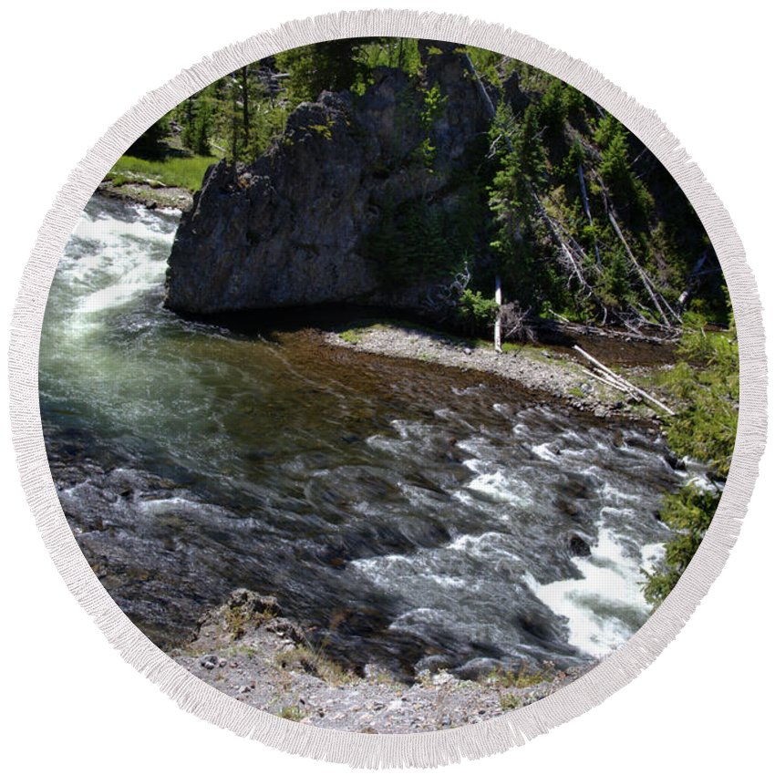 Beautiful Rapids Fast Flowing Firehole River Yellowstone National Park Wyoming Usa Round Beach Towel featuring the photograph Fast Moving Firehole River by Paul Cannon