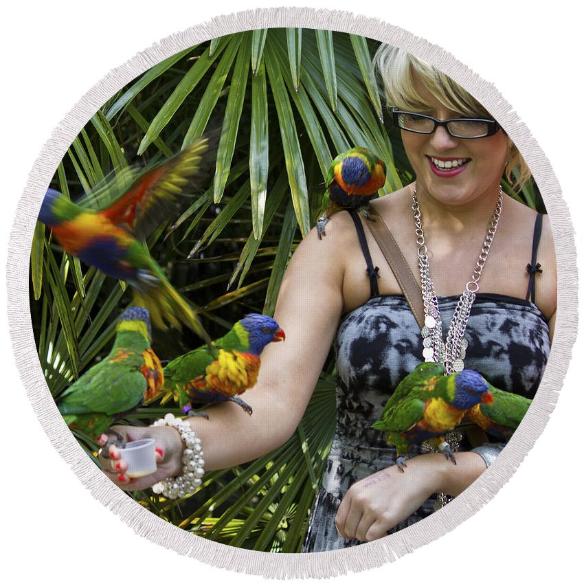 Clare Bambers Round Beach Towel featuring the photograph Feeding Rainbow Lorikeets by Clare Bambers