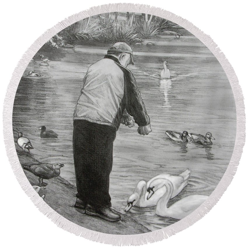Drawing Round Beach Towel featuring the drawing Feeding The Birds by Kim Hunter