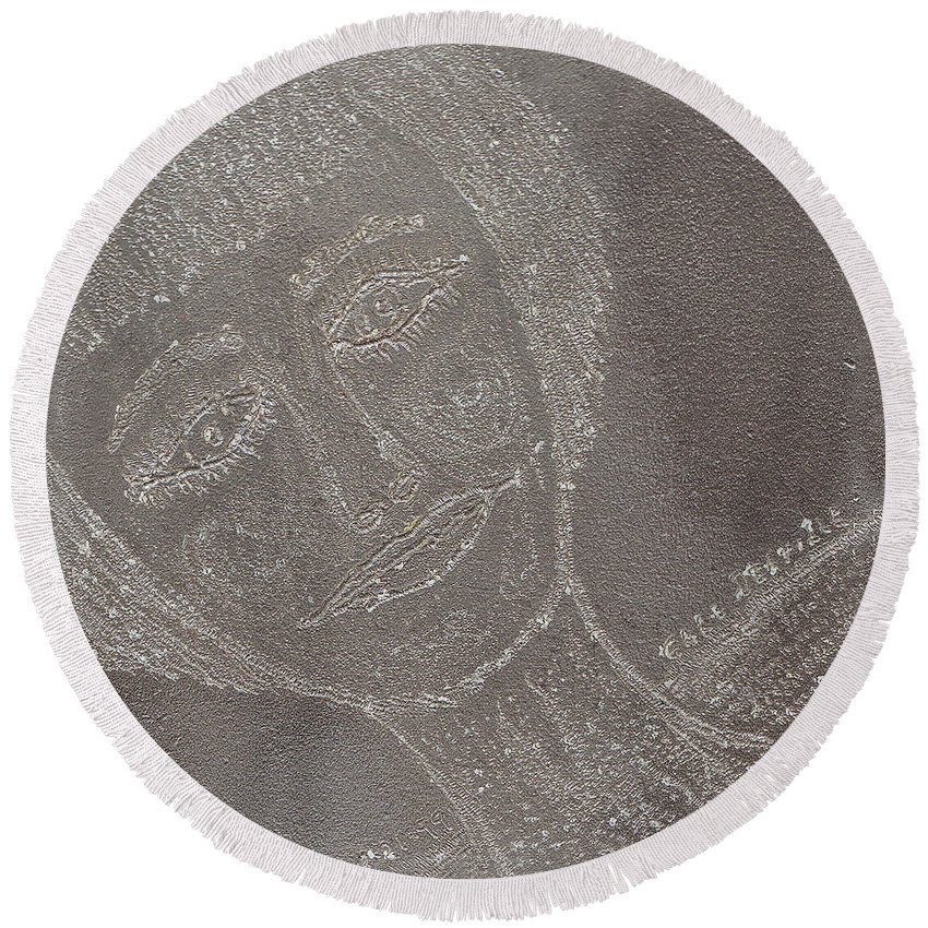 Original Round Beach Towel featuring the drawing Female Face On Steel Two by Carl Deaville