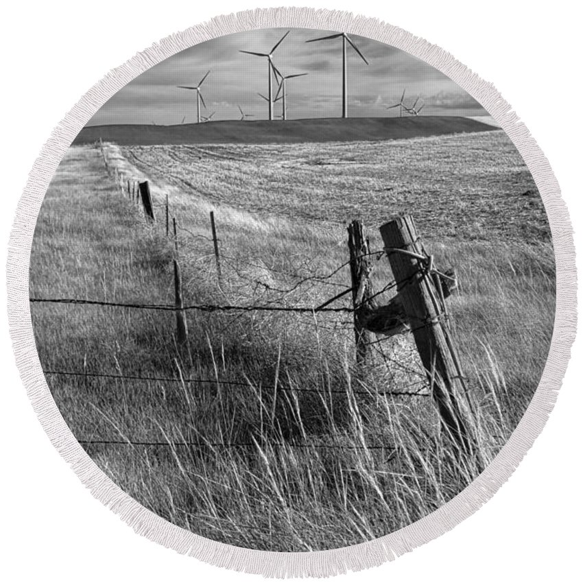Power Round Beach Towel featuring the photograph Fence Corner And Wind Turbines On A Farm In Alberta by Randall Nyhof