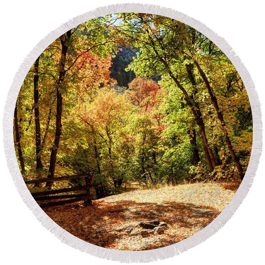 Fence Round Beach Towel featuring the photograph Fenced Path Through Autumn Forest - Blacksmith Fork Canyon - Utah by Gary Whitton