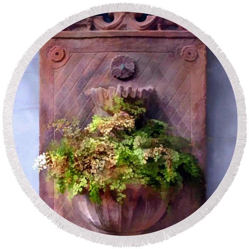 Round Beach Towel featuring the painting Fern In Antique Wall Planter by Elaine Plesser