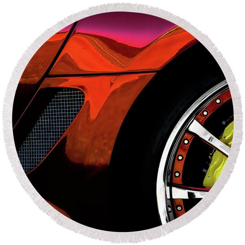 Exotic Round Beach Towel featuring the digital art Ferrari Wheel Detail by Douglas Pittman