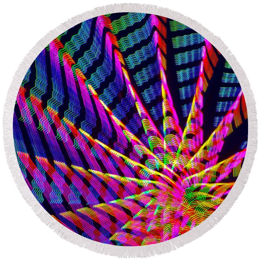 Abstracts Round Beach Towel featuring the photograph Ferris Tracings 554 by Rich Walter