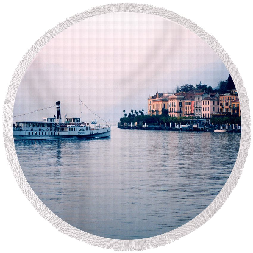 Bellagio Round Beach Towel featuring the photograph Ferry To Bellagio On Lake Como by Greg Matchick