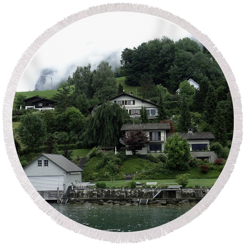 Alps Round Beach Towel featuring the photograph Few Houses On The Slope Of Mountain Next To Lake Lucerne In Switzerland by Ashish Agarwal