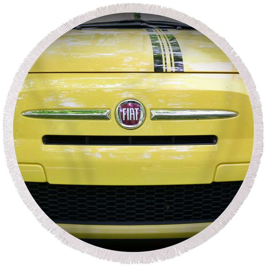 Fiat 500 Abarth Yellow With Racing Stripe Round Beach Towel featuring the photograph Fiat 500 Yellow With Racing Stripe by Paul Ward