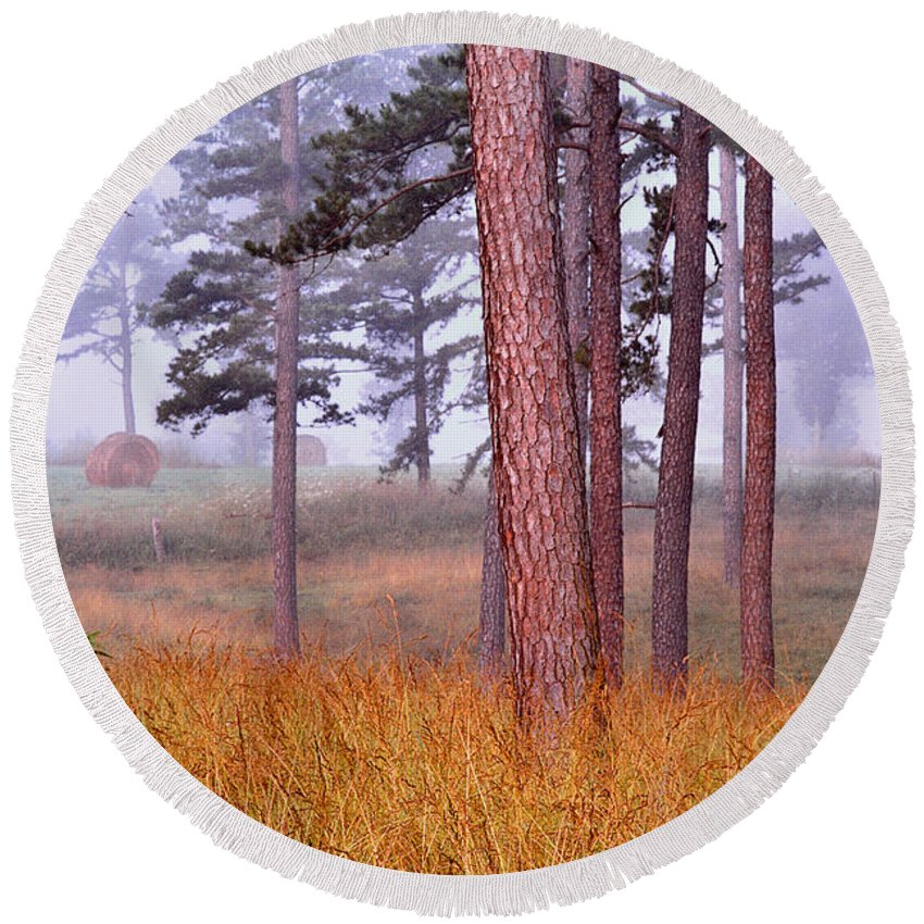 Field Round Beach Towel featuring the photograph Field Pines And Fog In Shannon County Missouri by Greg Matchick