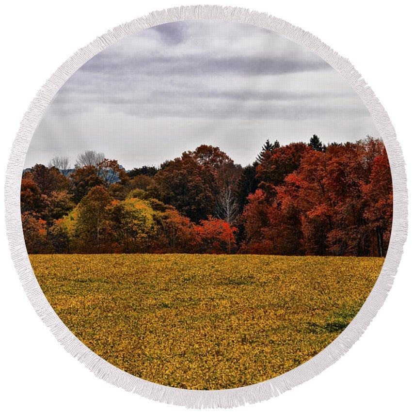 Fields Of Gold Round Beach Towel featuring the photograph Fields Of Gold by Bill Cannon