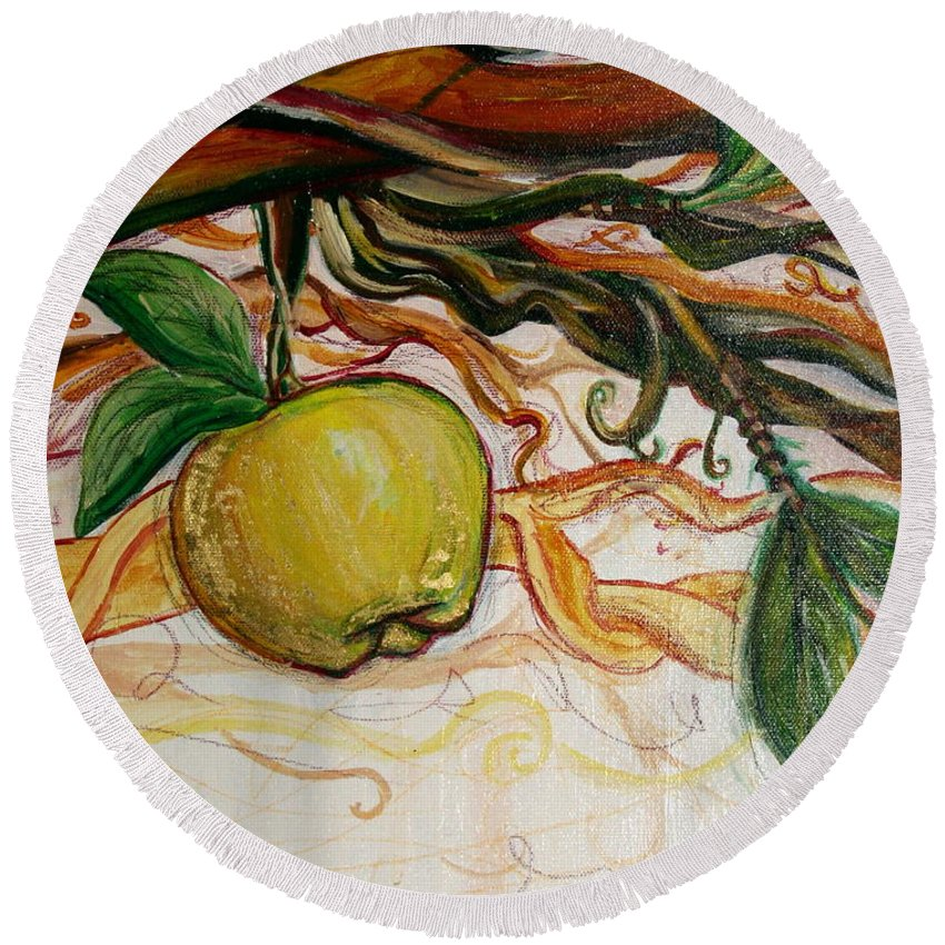 Apple Round Beach Towel featuring the painting Fifth World Five by Kate Fortin
