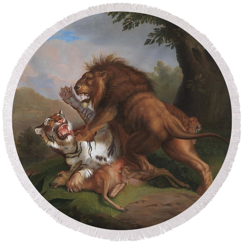 Fight Round Beach Towel featuring the painting Fight Of A Lion With A Tige by ohann Wenzel Peter