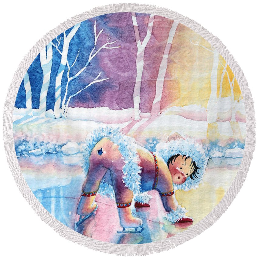 Childrens Book Illustrator Round Beach Towel featuring the painting Figure Skater 12 by Hanne Lore Koehler