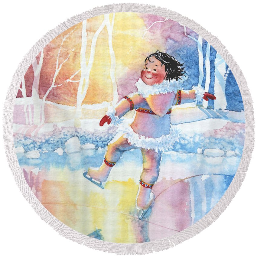 Childrens Book Illustrator Round Beach Towel featuring the painting Figure Skater 13 by Hanne Lore Koehler