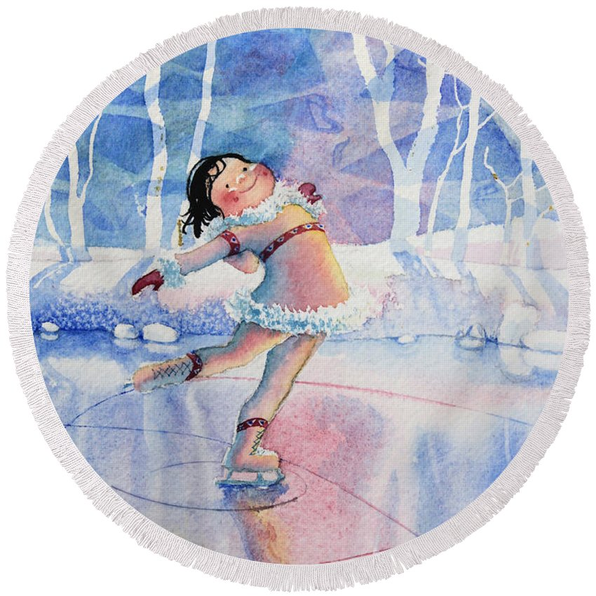 Childrens Book Illustrator Round Beach Towel featuring the painting Figure Skater 14 by Hanne Lore Koehler