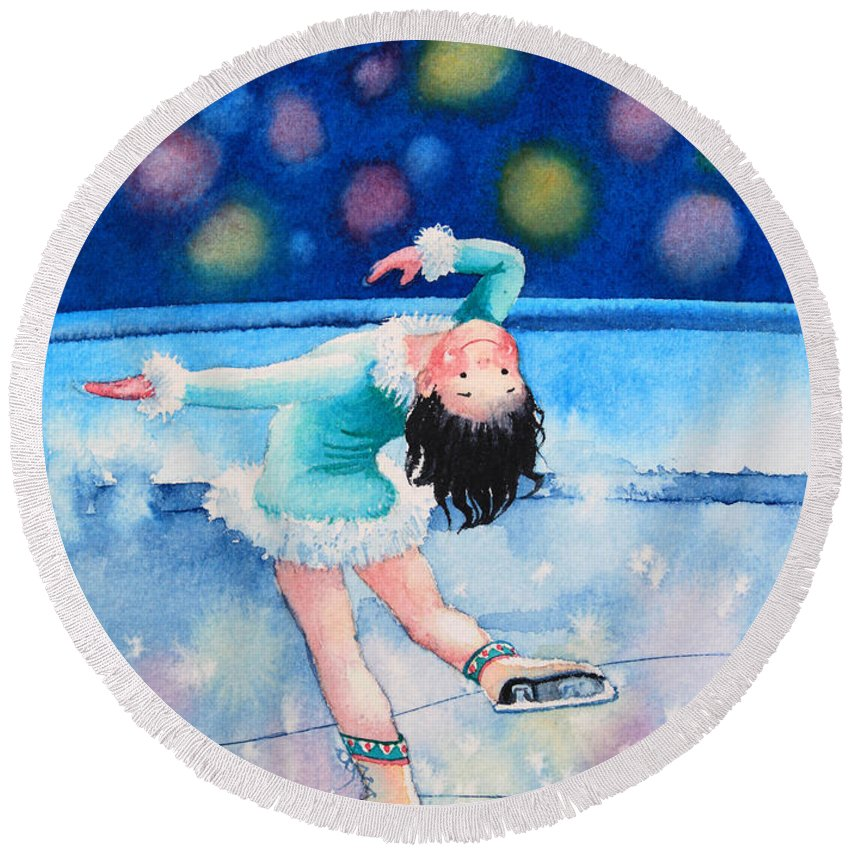 Childrens Book Illustrator Round Beach Towel featuring the painting Figure Skater 16 by Hanne Lore Koehler