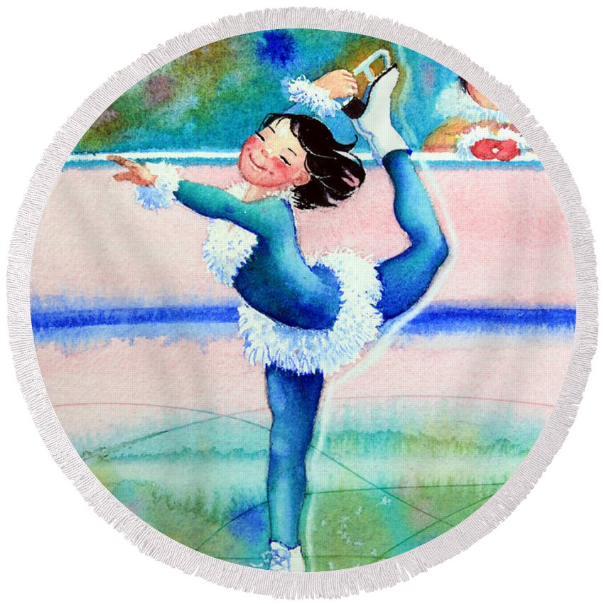 Childrens Book Illustrator Round Beach Towel featuring the painting Figure Skater 19 by Hanne Lore Koehler