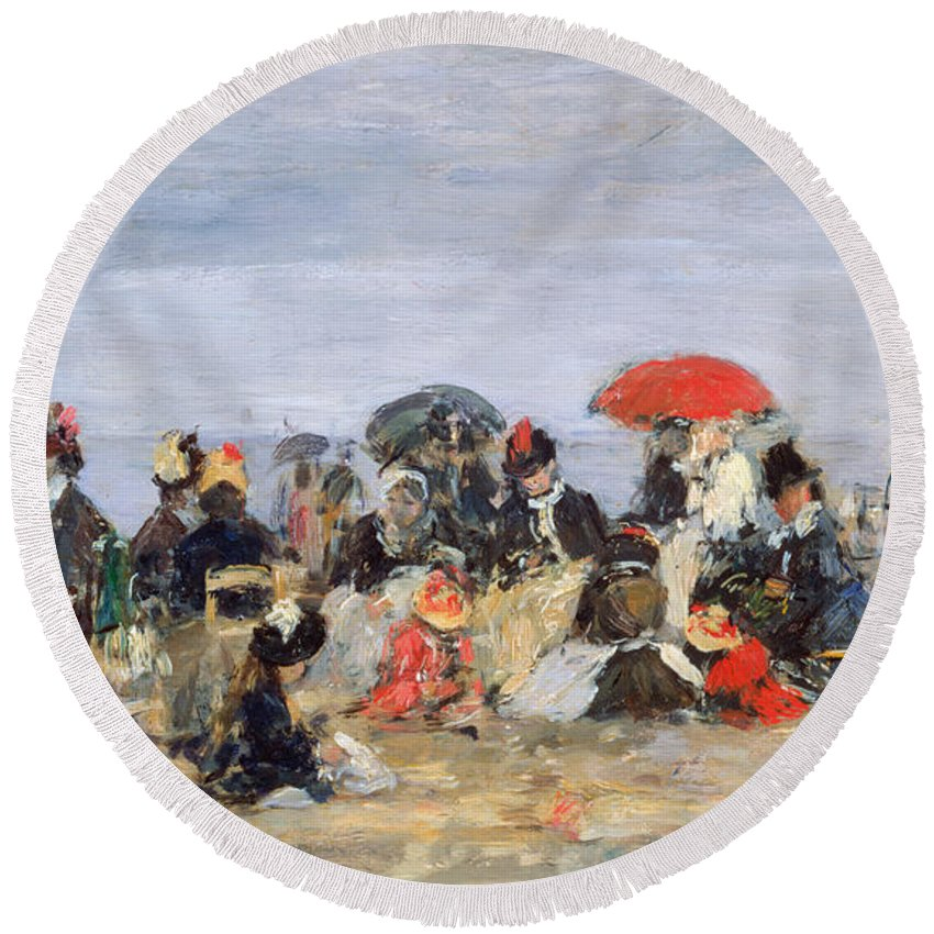 Figures Round Beach Towel featuring the painting Figures On A Beach by Eugene Louis Boudin