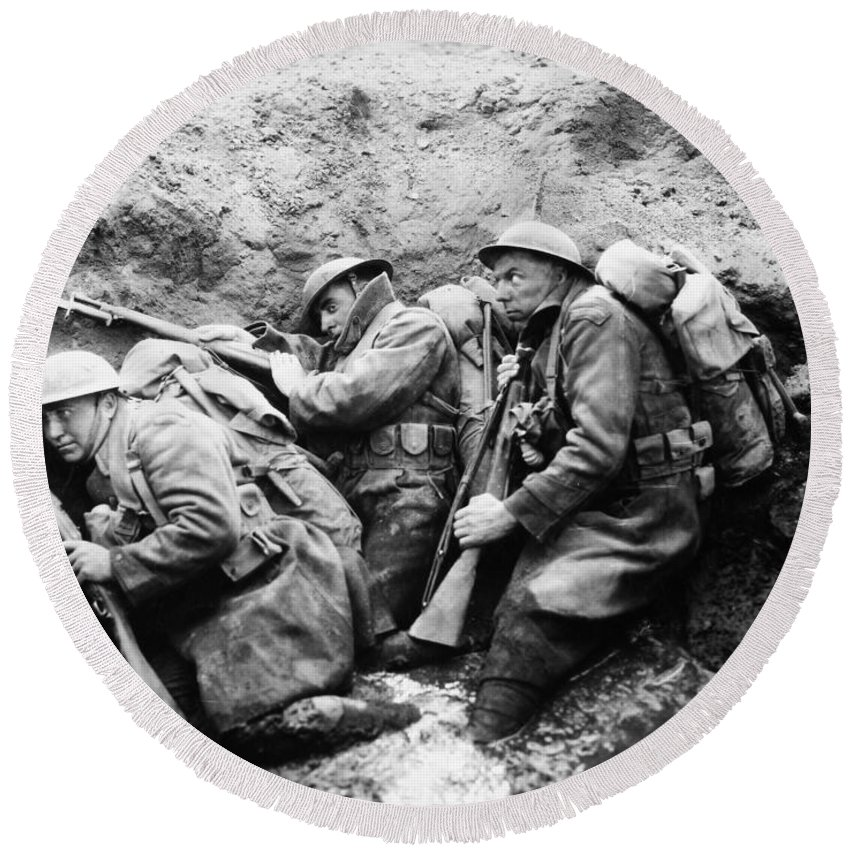 -wars And Warfare- Round Beach Towel featuring the photograph Film: Big Parade, 1925 by Granger