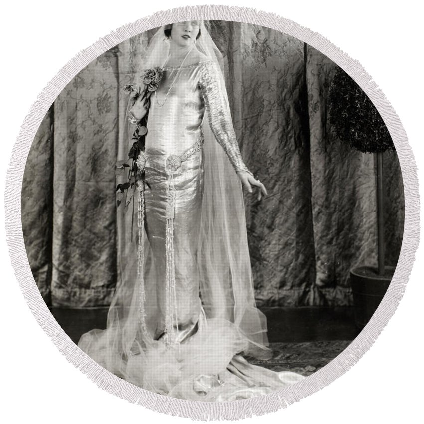 -weddings & Gowns- Round Beach Towel featuring the photograph Film: Fair Lady, 1922 by Granger