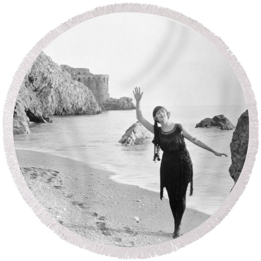 -beaches- Round Beach Towel featuring the photograph Film Still: Beach by Granger