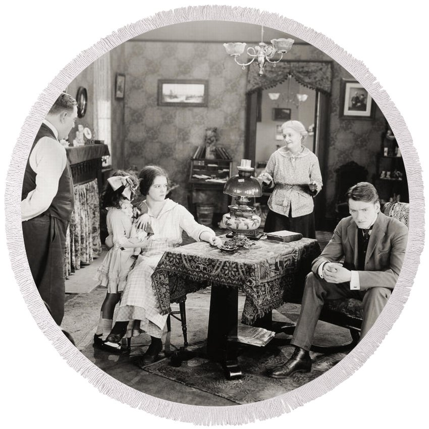 -family Groups- Round Beach Towel featuring the photograph Film Still: Poorhouse by Granger