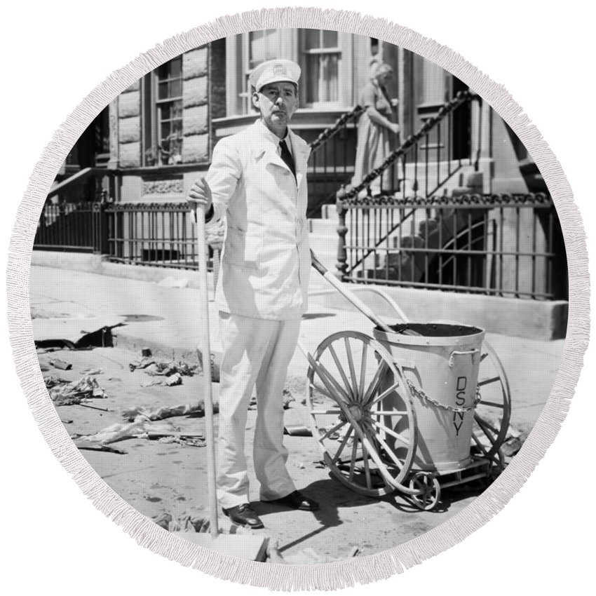 -street Cleaner- Round Beach Towel featuring the photograph Film Still: Street Cleaner by Granger