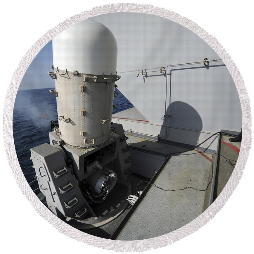 Ciws Round Beach Towel featuring the photograph Fire Controlman Looks On As A Close-in by Stocktrek Images