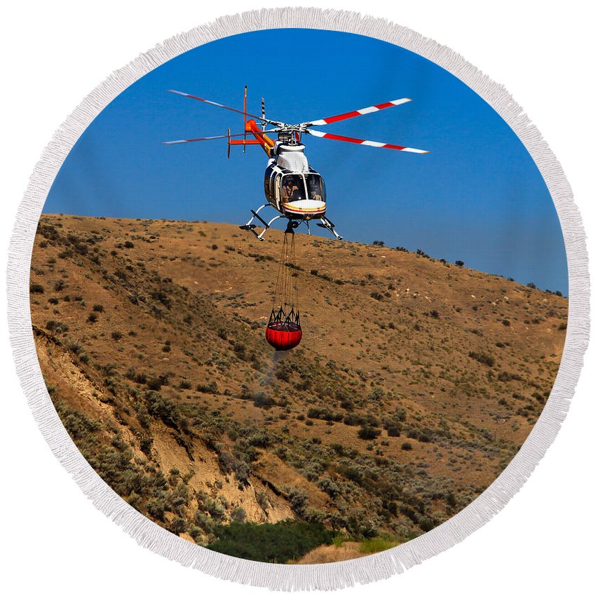 Helitack Round Beach Towel featuring the photograph Fire Fighting by Robert Bales