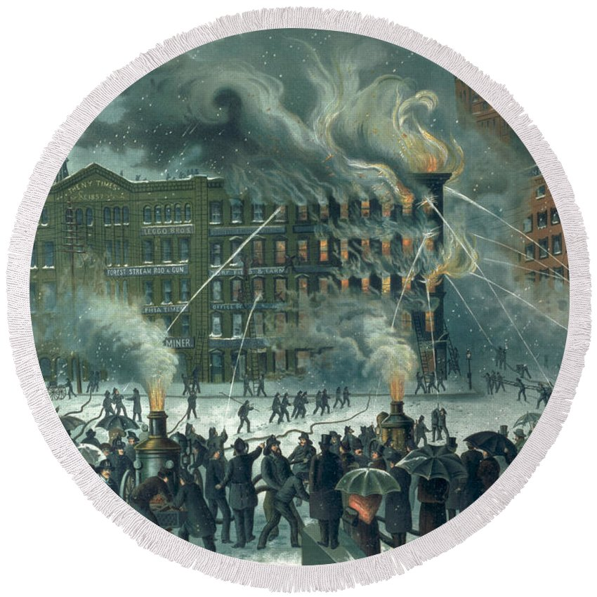 Fire In The New York World Building Round Beach Towel featuring the painting Fire In The New York World Building by American School