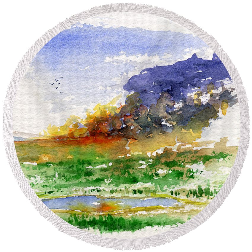 Fire Round Beach Towel featuring the painting Fire On The Pond by John D Benson