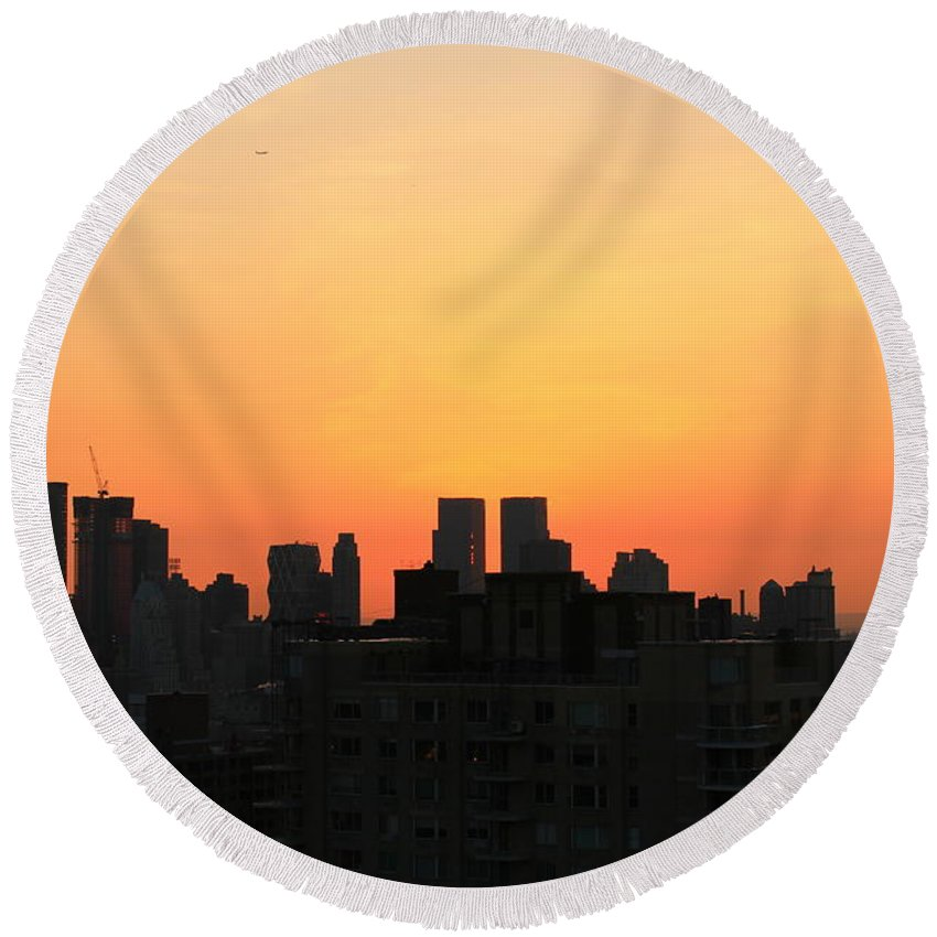 Sunset Round Beach Towel featuring the photograph Fire Sky by Catie Canetti