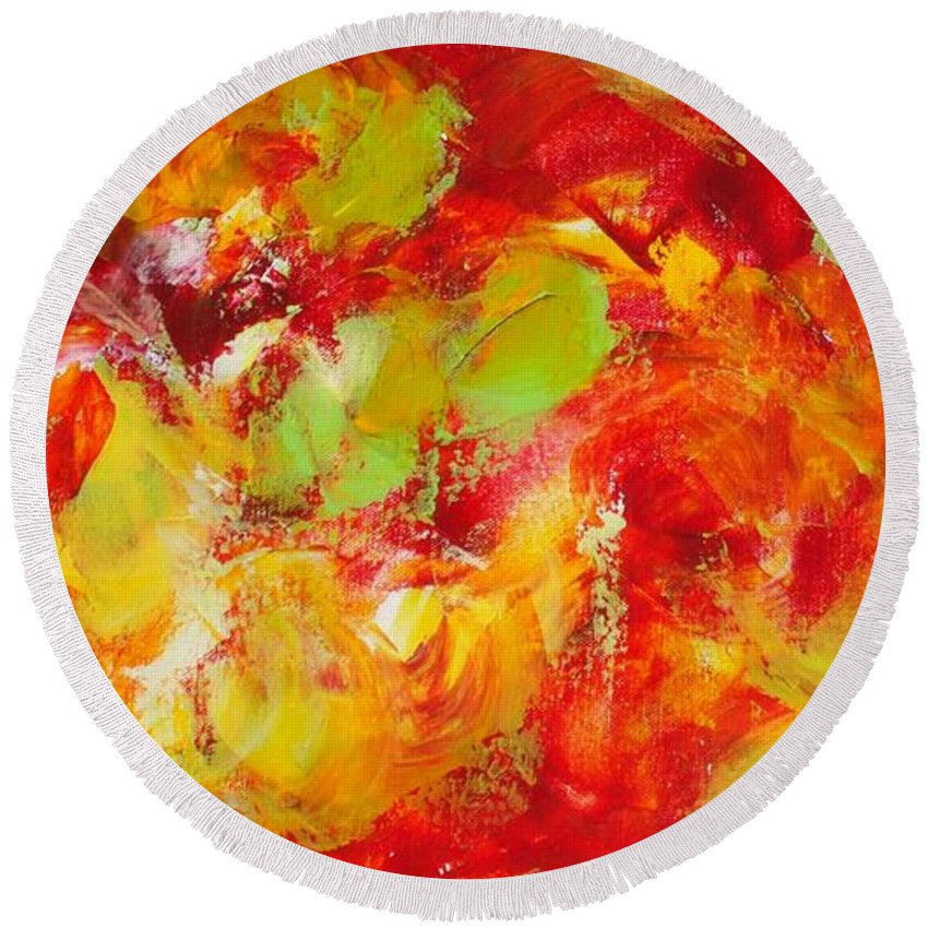 Abstract Round Beach Towel featuring the painting Fireball by Claire Gagnon
