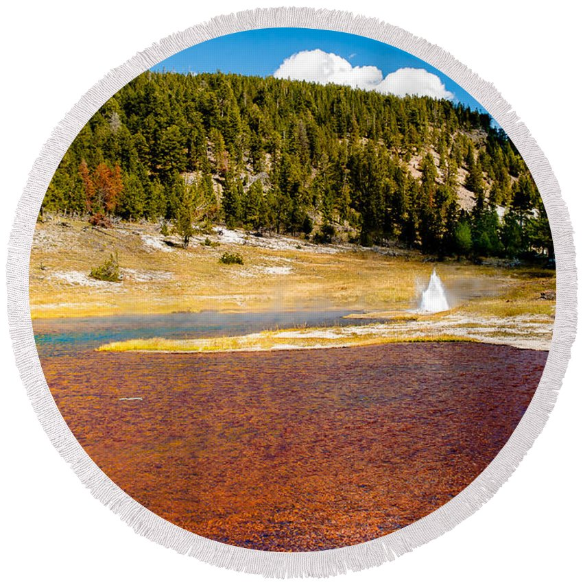 Lake Round Beach Towel featuring the photograph Firehole Lake by Robert Bales