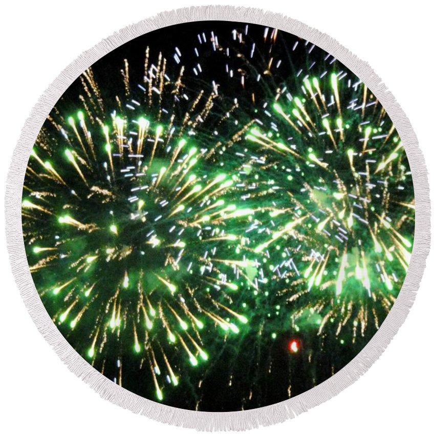 Opsail Round Beach Towel featuring the photograph Fireworks Number 4 by Meandering Photography