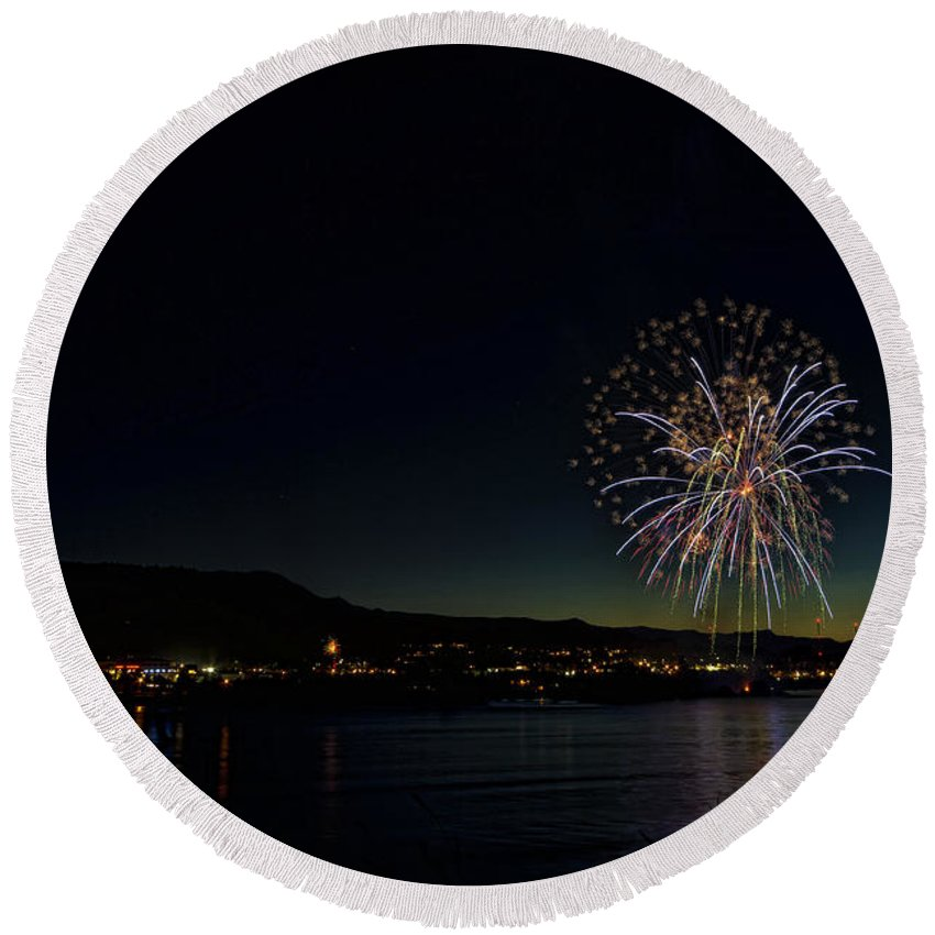Hdr Round Beach Towel featuring the photograph Fireworks On The River by Brad Granger