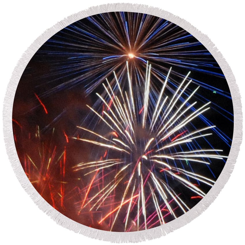 Fireworks Round Beach Towel featuring the photograph Fireworks Rectangle by Ronald Grogan