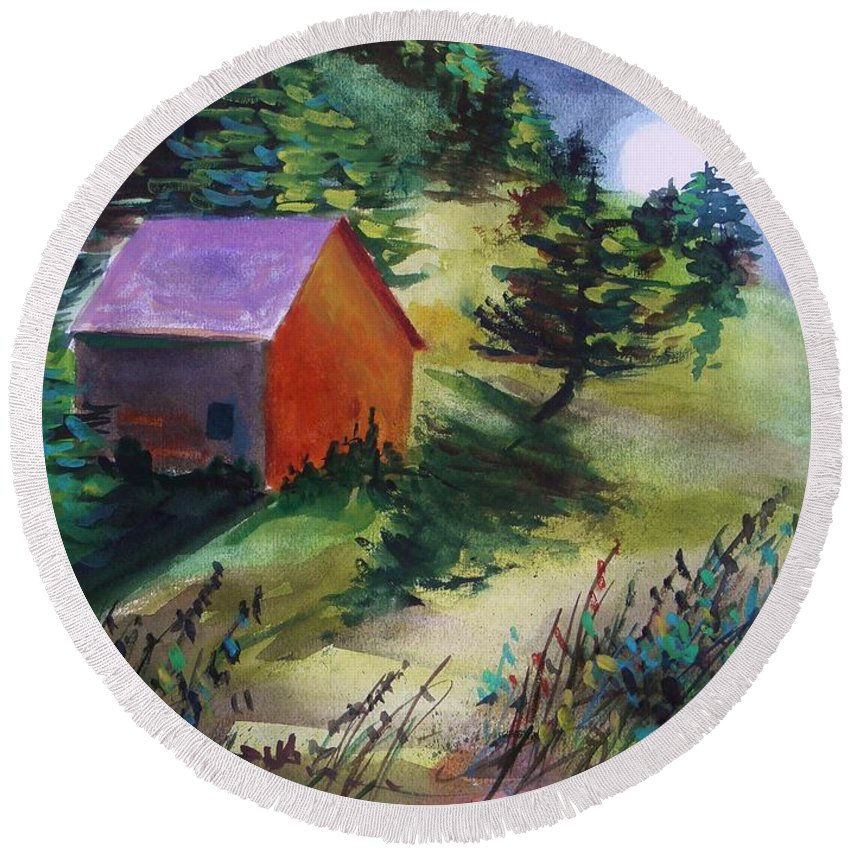 Watercolor Round Beach Towel featuring the painting First Full Moon Night by John Williams