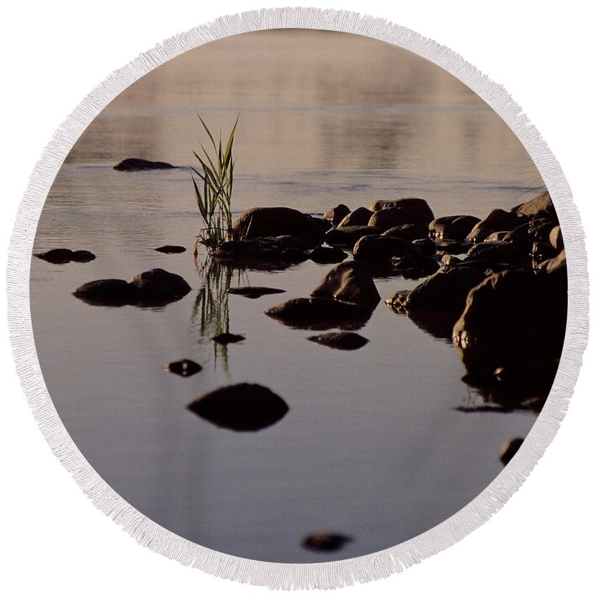 River Round Beach Towel featuring the photograph First Light by Sharon Elliott