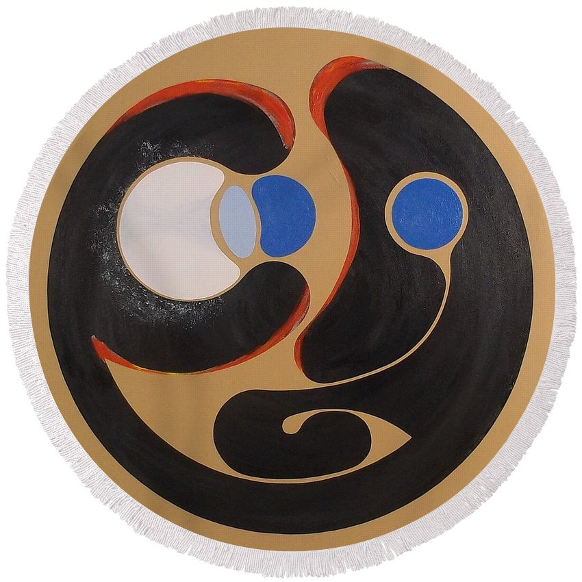 Abstract Round Beach Towel featuring the painting First Remove The Plank From Thine Own Eye by James Hamilton