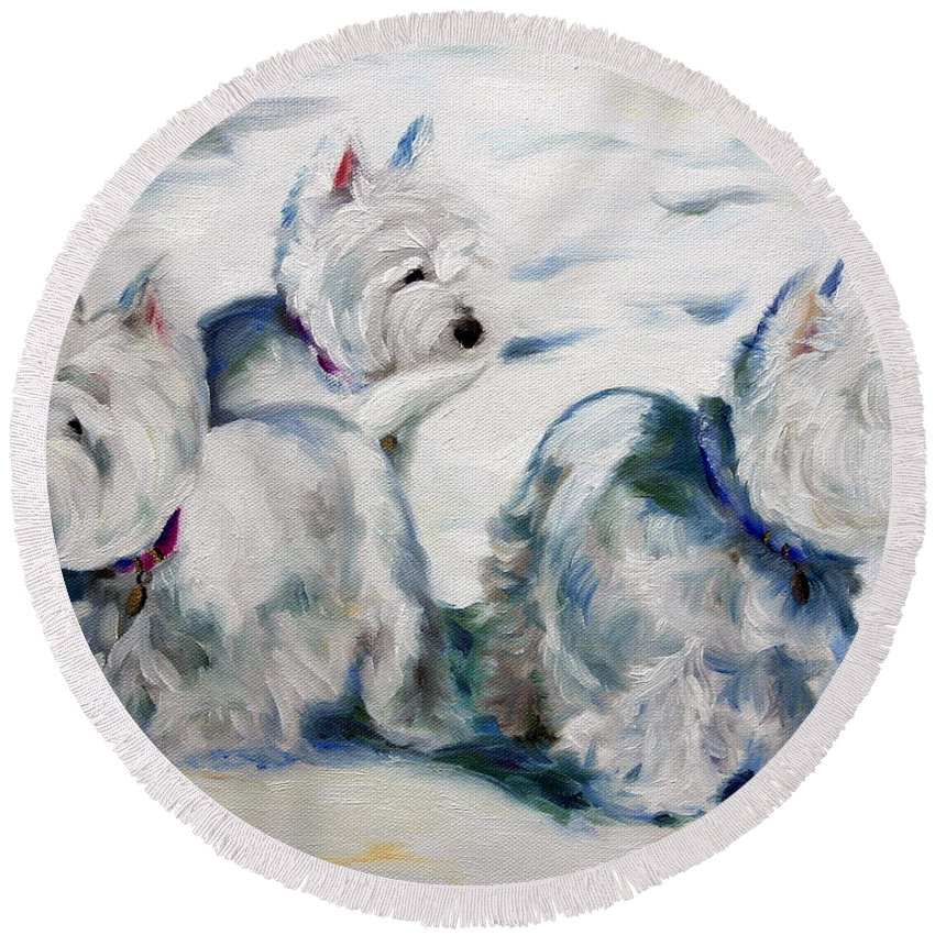 Art Round Beach Towel featuring the painting First Snow by Mary Sparrow