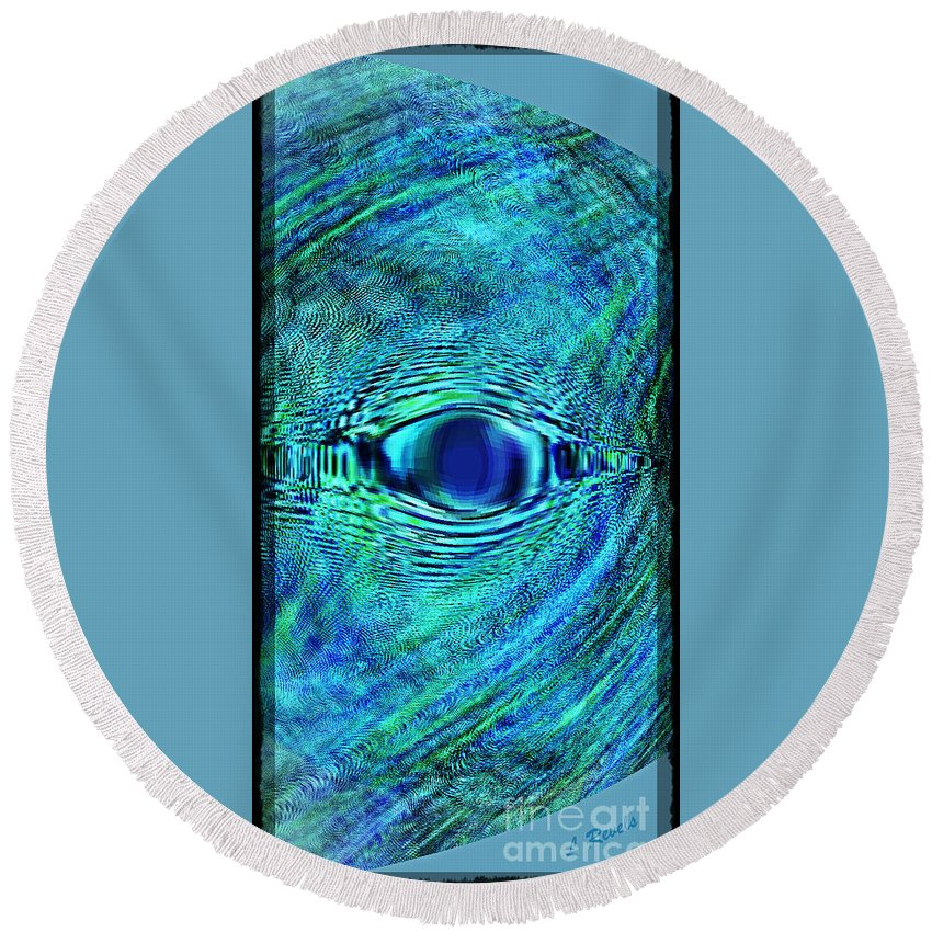 Fish Round Beach Towel featuring the digital art Fish Eye by Leslie Revels