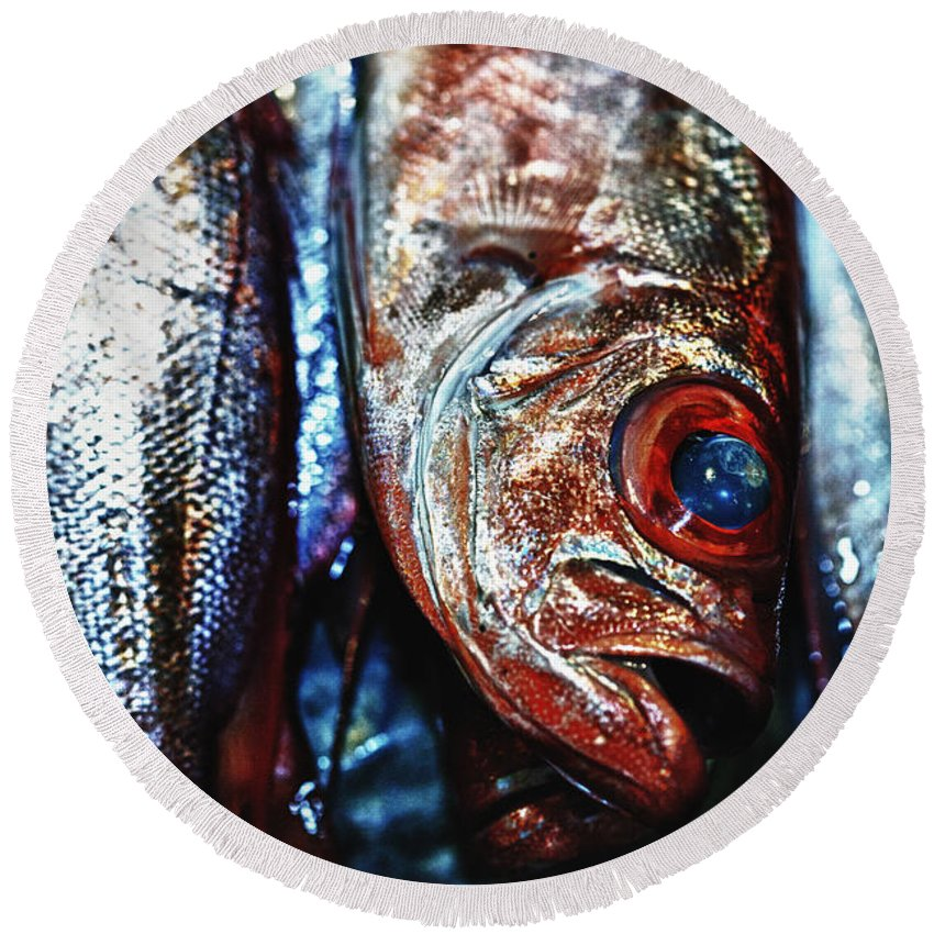 Abstract Round Beach Towel featuring the photograph Fresh Fish At The Market by Skip Nall