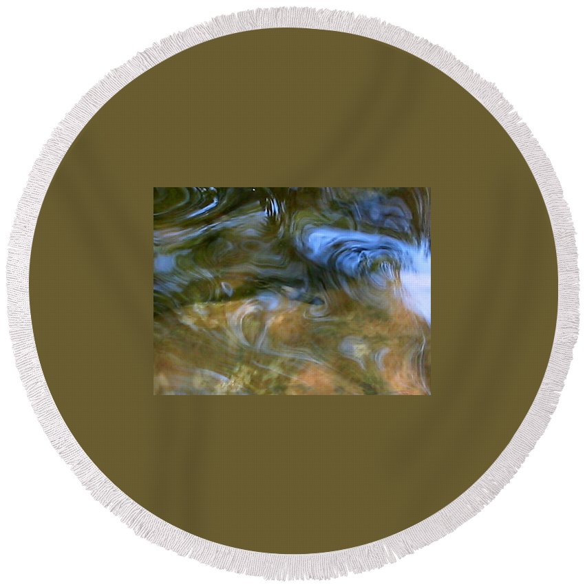 Fish Round Beach Towel featuring the photograph Fish In Rippling Water by April Patterson