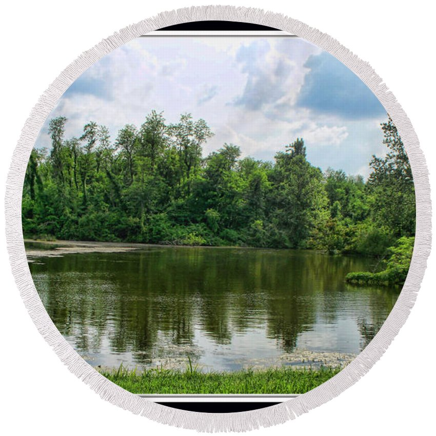 Round Beach Towel featuring the photograph Fishin Hole II by Debbie Portwood