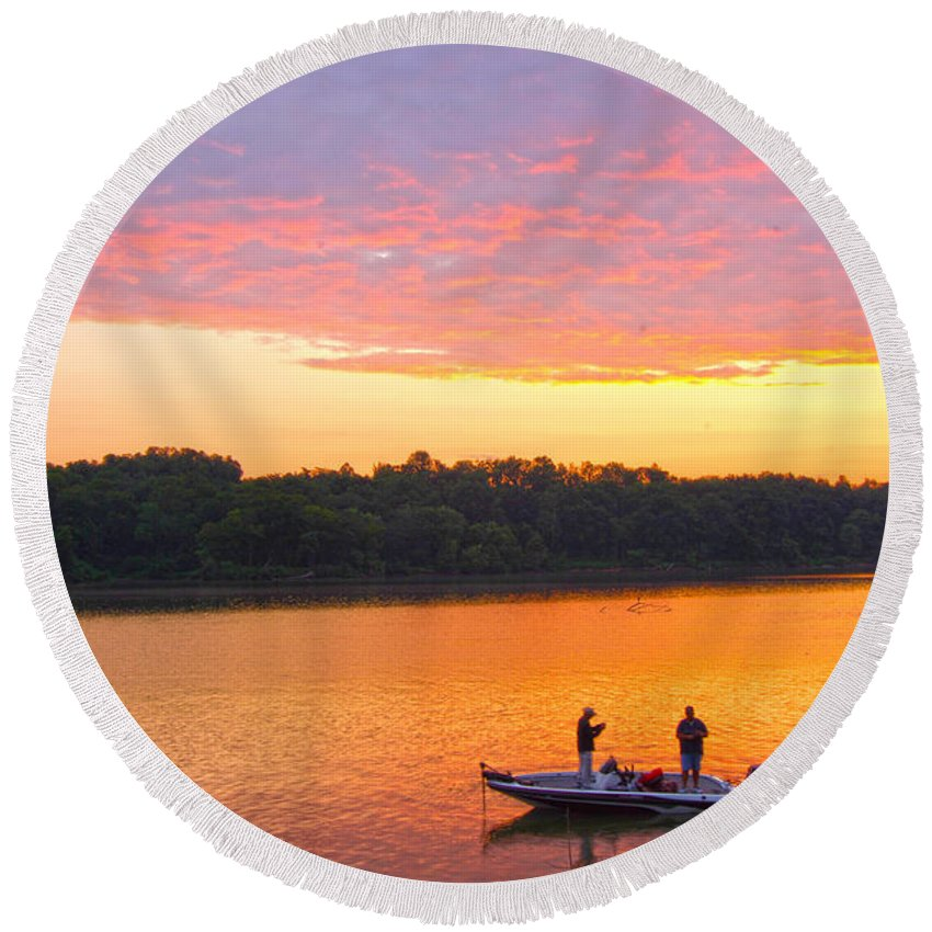 Fishermen Round Beach Towel featuring the photograph Fishing For Gold by Randall Branham