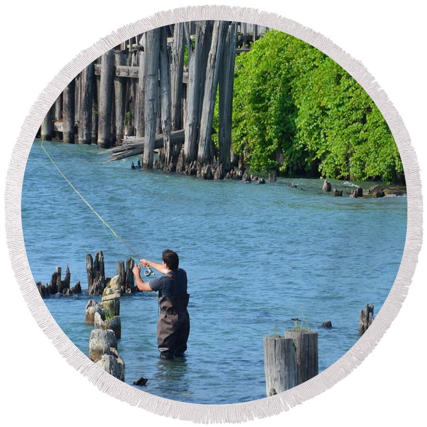 Fishing Round Beach Towel featuring the photograph Fishing by Randy J Heath